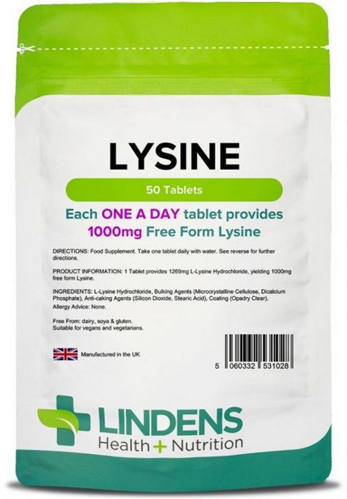 Lysine 1000mg x 50 Tablets (L-Lysine); Fight Cold Sores; Lindens